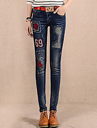 Women's Skinny Slim Jeans PantsGoing out Street chic Solid Patchwork High Rise Button Cotton Inelastic Winter