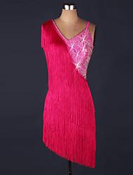 Devemos vestir a dança latina vestido de vestuário de organza de desempenho feminino