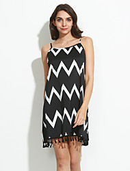 Women's Sexy Casual Cute Plus Sizes Micro Elastic Sleeveless Above Knee Dress (Cotton Blends)