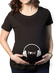 Maternity Casual/Daily Simple T-shirt,Print Round Neck Short Sleeve Black Cotton