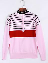 Damen Standard Pullover-Ausgehen Lässig/Alltäglich Retro Street Schick Gestreift Rosa Beige Rundhalsausschnitt Langarm Wolle Elasthan