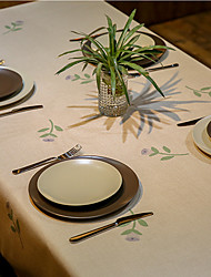 Patterned Table Cloth  Linen Material Table Decoration 1pc/setl Green Flower Buds 3 Size