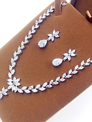 Jewelry Set Zircon Cubic Zirconia Leaf Silver Party 1set Necklaces Earrings Wedding Gifts
