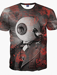 Men's Party Sports Going out Club Casual/Daily Cute Street chic Punk & Gothic Spring Summer T-shirt,Print Round Neck Short Sleeve