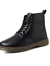 Men's Boots Fall Winter Comfort Leatherette Casual Low Heel Lace-up Black Brown Burgundy Walking