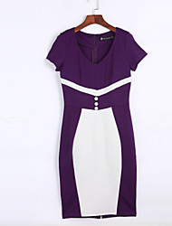 Women's Work Vintage Sheath Dress V Neck Knee-length  Length Sleeve Purple Polyester Summer High Rise
