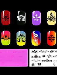 1pc ongles rouge en plastique environnement plaque d'estampage, des motifs de style chinois. (Kd-sm612-020)