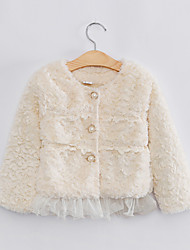 Girl's Fashion Lace Imitation Fur Spring/Fall/Winter Going out/Daily Long Sleeve Down & Cotton Padded Warm Children Coat