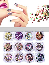 12pcs / set paillettes ultrafines rondes brillantes ongles coloré