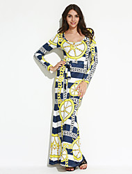 Women's Going out / Party/Cocktail / Club Sexy / Sophisticated Bodycon DressPrint U Neck Maxi Long Sleeve Yellow