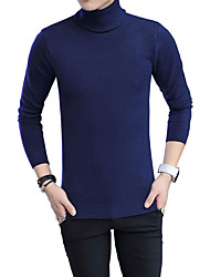 Men's Casual/Daily Plus Size Simple Cute Street chic Regular Pullover,Solid Blue Red Black Gray Turtleneck Long Sleeve Cotton Fall Winter