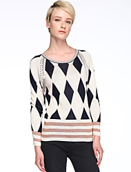 Damen Standard Pullover Geometrisch Mehrfarbig Langarm Baumwolle Leinen Andere Frühling Herbst Winter Mittel Mikro-elastisch