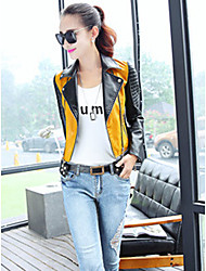 Women's Casual/Daily Simple Jackets,Color Block Square Neck Long Sleeve Spring Green / Yellow PU Medium