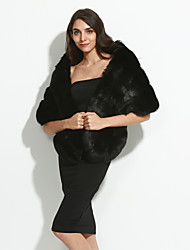 Women's Casual/Daily Street chic Fur CoatSolid Round Neck  Length Sleeve Winter White / Black Faux Fur / PU Thick Cloak