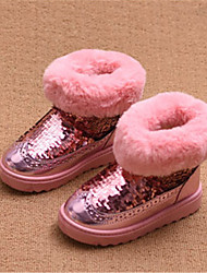 Girls' Boots Comfort Snow Boots Leatherette Winter Casual Comfort Snow Boots Sequin Platform Black Blushing Pink Flat
