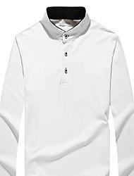 Tee-shirt Hommes,Couleur Pleine Décontracté / Quotidien simple Printemps / Automne Manches Longues Mao Bleu / Blanc / Noir / Gris Coton
