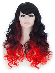 65 CMBig Wavy Long Curly Wigs Party Cosplay/Lolita Costume Party Fancy Dress Hair Wig (Black to Burgundy to Red)
