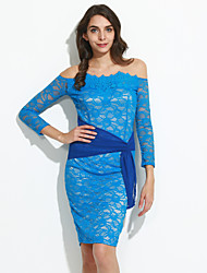 Women's Formal / Club Sexy Bodycon Dress,Solid Boat Neck Knee-length ¾ Sleeve Blue Others Spring / Fall