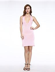 Платье - Выше колена - Эластик/Микрофибра - Секси/Облегающий