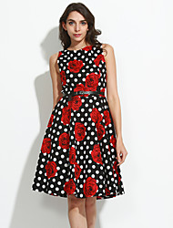 Women's Casual/Daily Street chic Sheath Dress,Floral Round Neck Knee-length Sleeveless Cotton Summer High Rise Stretchy Medium