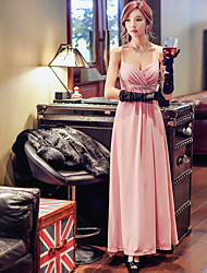 Women's Formal Party/Cocktail Club Sexy Cute Sophisticated Shift Sheath DressSolid Strap Maxi Sleeveless Pink