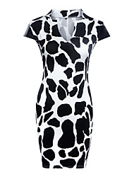 Women's Sexy Print Sheath Dress,V Neck Knee-length Polyester Print Randomly
