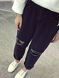 Spring 2016 new large hole in the knee wide Song Halun jeans bf wind black denim trousers