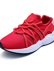 Men's Athletic Shoes Spring Fall Comfort PU Outdoor Casual Athletic Flat Heel Lace-up Black Red Gray