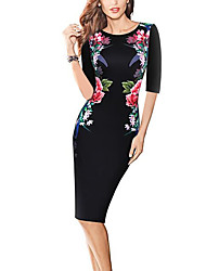 Women's Plus Size / Going out Simple / Street chic A Line Dress,Floral Round Neck Knee-length Long SleeveBlue / Pink /
