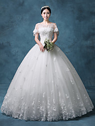 Princess Wedding Dress Floor-length Jewel Lace / Organza / Tulle / Sequined with Appliques / Beading / Crystal / Lace / Sequin