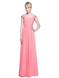 2017 Lanting Bride® Floor-length Chiffon Elegant Bridesmaid Dress - Sheath / Column Straps with Ruffles / Pleats