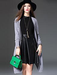 Damen Standard Mantel / Capes-Lässig/Alltäglich Chinoiserie Stickerei Schwarz / Grau Gekerbtes Revers Langarm Wolle / Baumwolle Winter