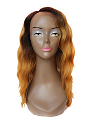 Synthetic Lace Front Wig Deep Invisible L Part Wigs Brown Root With Brown Golden Wavy Ombre Hair