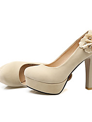 Women's Heels Spring Summer Fall Leatherette Casual Party & Evening Chunky Heel Flower Black Red Beige