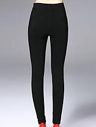 Feminino Skinny Chinos Calças-Cor Única Casual Simples Cintura Média Elasticidade Algodão Náilon Elastano Inelástico Outono