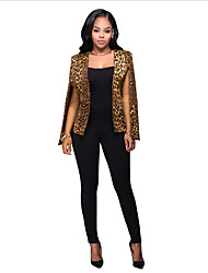 Women's Work / Party/Cocktail Sophisticated Summer / Fall Blazer,Leopard Deep U Sleeveless Orange Polyester