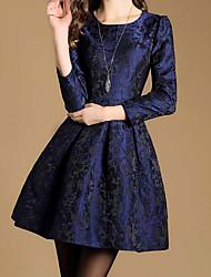 Women's Formal Vintage Sheath Dress,Floral Round Neck Above Knee Long Sleeve Purple Cotton Fall Mid Rise Micro-elastic Medium
