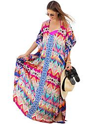 Damen Tunika Kleid-Strand Urlaub Sexy Boho Druck U-Ausschnitt Maxi Kurzarm Mehrfarbig Polyester Sommer Mittlere Hüfthöhe Mikro-elastisch