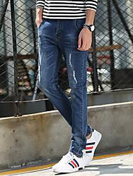 Hommes Slim Jeans Pantalon,simple Décontracté / Quotidien Couleur Pleine Taille Normale fermeture Éclair Coton Micro-élastiqueAutomne /