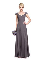 LAN TING BRIDE Floor-length V-neck Bridesmaid Dress - See Through Short Sleeve Chiffon