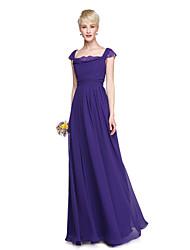 2017 Lanting Bride® Floor-length Chiffon Elegant Beautiful Back Bridesmaid Dress - A-line Square with Lace Pleats