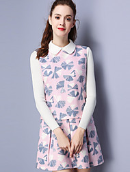 KAN F Women's Casual/Daily Vintage Sheath DressFloral Shirt Collar Above Knee Long Sleeve Pink Polyester Fall Mid Rise Inelastic Medium
