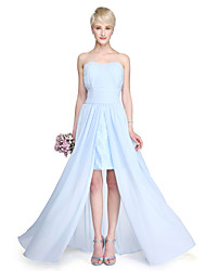 LAN TING BRIDE Floor-length Strapless Bridesmaid Dress - Furcal Sleeveless Chiffon