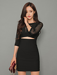 8327 # sexy gauze miniskirt solid color hollow sleeve dress