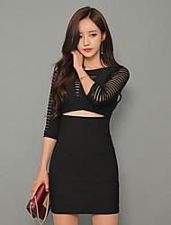 8327 # gaze sexy mini-jupe couleur unie robe de manchon creux