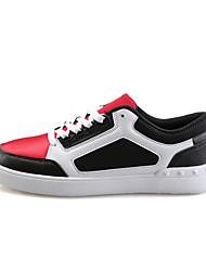 Masculino-Tênis-Conforto-Rasteiro-Preto Preto e Branco Preto e Vermelho-Couro Ecológico-Ar-Livre
