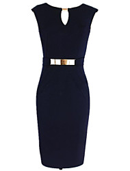Women's Sexy V Neck Metal Waist Decor Bodycon Pencil Dress