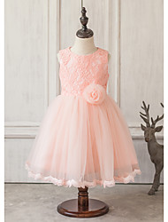 Princess Knee-length Flower Girl Dress - Lace / Satin / Tulle Sleeveless Jewel with Bow(s) / Lace
