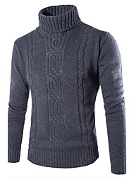 Men's Fashion Slim high Neck Jacquard Knit Sweater Solid Gray Turtleneck Long Sleeve Cotton Polyester Fall Winter Medium Micro-elastic