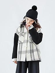 SU Korea retro British style pattern lapel sherpa stitching woolen coat jacket female autumn and winter